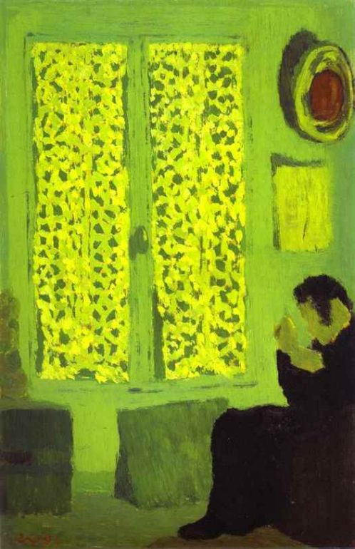 The Green Interior or Figure in front of a Window with Drawn Curtains